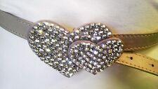 Beige Skinny Elegant Woman Design Belt With Double Rhinestones Heart Size  M L