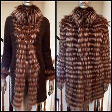 NEW Maximilian reversible Real Fox Fur Wool belted coat Jacket Sz S 36E $2200