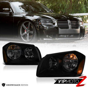 For 05-07 Dodge Magnum SE SRT SXT RT [SINISTER BLACK] Smoke Headlights Assembly