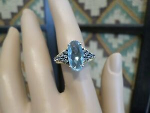 Chuck Clemency STS Sterling Faceted Sky Blue Topaz Spinel Ring - Sz 7