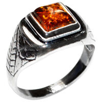 2.8g Authentic Baltic Amber 925 Sterling Silver Ring Jewelry N-A7197