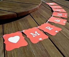 MR & MRS Wedding banner -CORAL - bunting flags/garland -decoration - sign