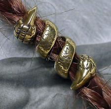 Bartcreole Bart Perle Bartperle Bartschmuck Bronze Drachenkralle D5,5mm + GUMMIS
