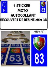 1 sticker plaque immatriculation MOTO TUNING 3D RESINE  BLASON PORTUGAL DEPA 83