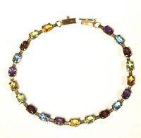 """10k yellow gold citrine topaz peridot amethyst bracelet 4.5g vintage 7 1/2"""""""