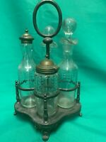 Vintage James Deakin and Son Sheffield Silver Plated and glass Cruet Set S615