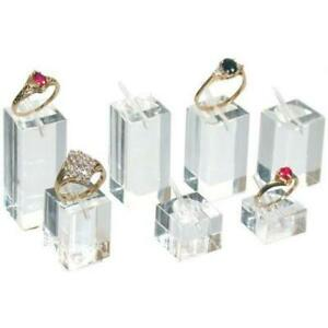 Ring Display Stands Square Acrylic 7Pcs