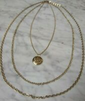 Vintage Gold Plated/Tone Locket Tiered Triple Layer Chain- Floral Etched Design
