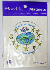 """MANDALA Refrigerator Magnet  """" I AM A CHILD OF THE UNIVERSE"""" New in Package"""