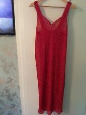 Ladies MARKS & SPENCER red Chiffon Sheer Dress Size 12 Long