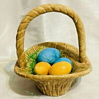 Vintage Atlantic Mold Tan Ceramic Easter Basket Weave design with Handle Eggs