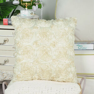 """CaliTime Pillow Throw Cushion Covers Case Shell Solid Stereo Roses Floral 18x18"""""""