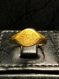 Antique Islamic Seljuk Amulet Talisman Solid Yellow Gold Ring 11 - 12 Century AD
