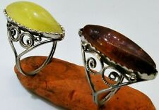 Vintage Ring USSR Amber Polished Baltic stone natural Necklace Size 17.5 - 18 mm