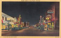 Vintage 1942 Linen Postcard Bright Lights of Las Vegas Nevada
