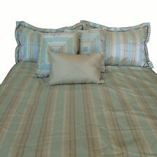 6 Pce Stripes Green COMFORTER + 2 Std Pillowcase + 3 Filled Cushions - QUEEN SIZ