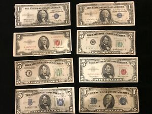 Vintage US 1934 -1950 $1 - $10 type  Notes Circulated & Genuine 8 different
