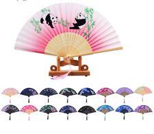 Japanese Chinese Hand Held Fan Bamboo Silk Butterfly Flower Folding Fan Wedding