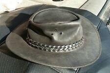 Jacaru Black Leather Wallaroo Oil Bush Hat - Men's Small NEW