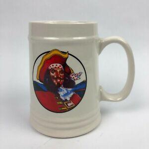 Captain Morgan Cup Mug Stein White Ceramic Rum Beer Collectible Tankard Pirate