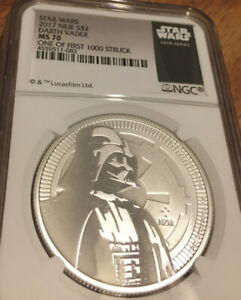 2017 Star Wars DARTH VADER MS70 1 OF 1ST 1000 Struck Silver 1oz $2 WHITE Core