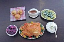 Dollhouse Miniature Holiday Turkey Dinner with Trimmings Bright deLights 1:12