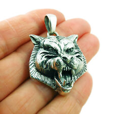 Heavy Hallmarked 925 Sterling Silver Animal Wolf Pendant Gift Boxed