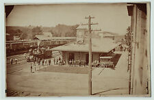 SUPER RARE- 1870s Albumen Photo Railroad Station Depot Waverly NY Erie? RR Train