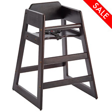 Restaurant Style Wooden High Chair Baby Toddler Assembled Dark Wood Seat Safe