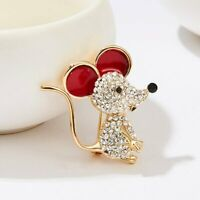 2020 New Lovely Mouse Rat Full Crystal Brooch Pin Women Wedding Jewelry Gifts