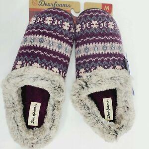 Dearfoams Womens Slipper Clog M (7/8) Slippers Fair Isle Purple Knit Faux Fur