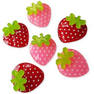 6pcs Acrylic Strawberries Kawaii Flatback Cabochons Embellishment Decoden Craft