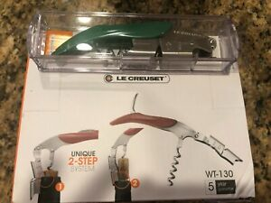 Le Creuset Waiter's Friend Wine Corkscrew Foil Cutter Bottle Opener Green NEW