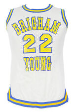 9ef3bcd9a52 BYU BASKETBALL GAME USED WHITE HOME JERSEY Medalist Sand Knit Brigham Young  LOA
