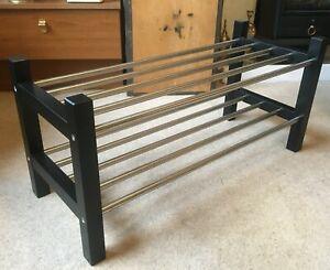 TWO TIER SHOE RACK ORGANISER-BLACK WOODEN SIDES-CHROME/STEEL BARS-L 79cm/W 32cm