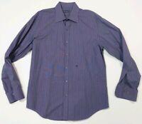 Joop! Shirt casual dress button down purple black stripe 16/41 long sleeve