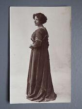 R&L Postcard: Studio Portrait of Edwardian Lady in Long Fashion Dress