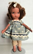 Bisque Nancy Ann Story Book Doll, Little Betty Blue, Straight Leg, on stand
