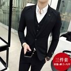Men's Dress Formal Suit 3PCS One Button Wedding Blazers Coat Pants Vest Set New