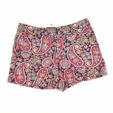 Lands' End Women's Shorts Linen Cotton Paisley Print Low Rise Flat Front Size 6