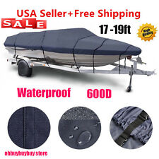 "600D 17-19 ft Heavy Duty Trailerable Waterproof Boat Cover V-Hull Beam 95"" GrayH"