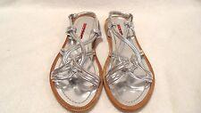 Retail $390 PRADA SILVER Metallic Flat Sandals Made in Italy