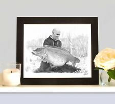 MOUNTED FISHING PORTRAIT Hand Drawn By Angling Artist Robin Woolnough Bespoke