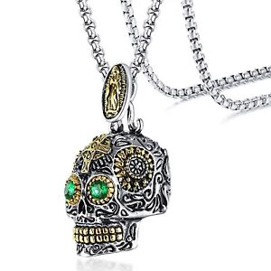 Stainless Steel Green CZ Eyes Day of the Dead Skull Pendant & Necklace