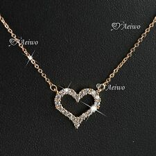 18K ROSE GOLD GP MADE WITH SWAROVSKI CRYSTAL LOVE HEART PENDANT NECKLACE