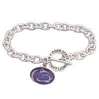 Penn State Nittany Lions Team Name Silver Toggle Blue Charm Bracelet Jewelry PSU