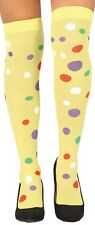 Ladies Yellow Polka Dot Clown Carnival Fun Fancy Dress Stockings Hold Ups Socks