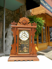 Outstanding Victorian Walnut Mantle Clock with Brass Works 19th century.