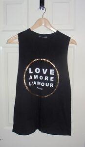 BNWT Primark ladies LOVE AMORE L'AMOUR PARIS black vest t-shirts - various sizes