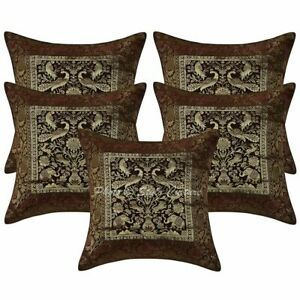 Indian Sofa Cushion Covers 40 x 40 cm Decorative Brocade Jacquard Pillow Cases